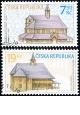 Lidová architektura - Dřevěné kostelíky - č. 490-491 - razítkovaná