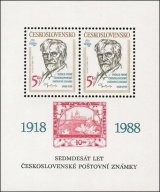 70 let čs. poštovní známky - čistý - aršík - č. A2859