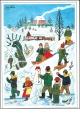 Josef Lada - Vánoce - pohlednice - Děti v zimě 1955