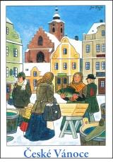 Josef Lada - Vánoce - pohlednice - Vánoční kapr 1955