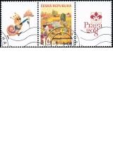Letní den - spojka S3 - razítkovaná poštovní známka PRAGA 2008 - č. 573