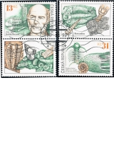 Joachim Barrande a čeští trilobiti - razítkované známky s kupony - č. 222-223