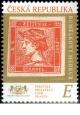 Známka na známce - Rumělkový Merkur - č. 1090 - za nominál